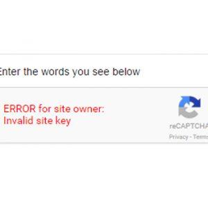 ERROR for site owner: Invalid site key