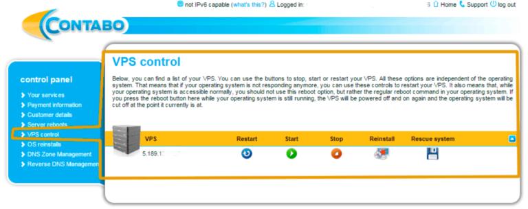 Contabo VPS control