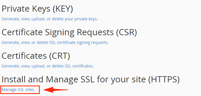 manage ssl cpanel