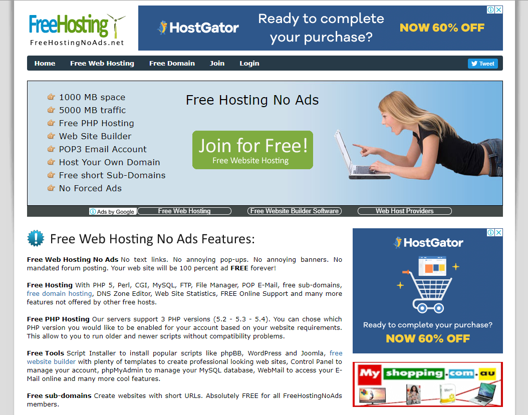 free web hosting no ads own domain