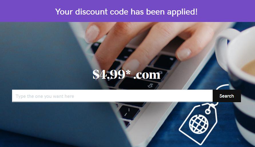 GoDaddy $4.99 domain coupon