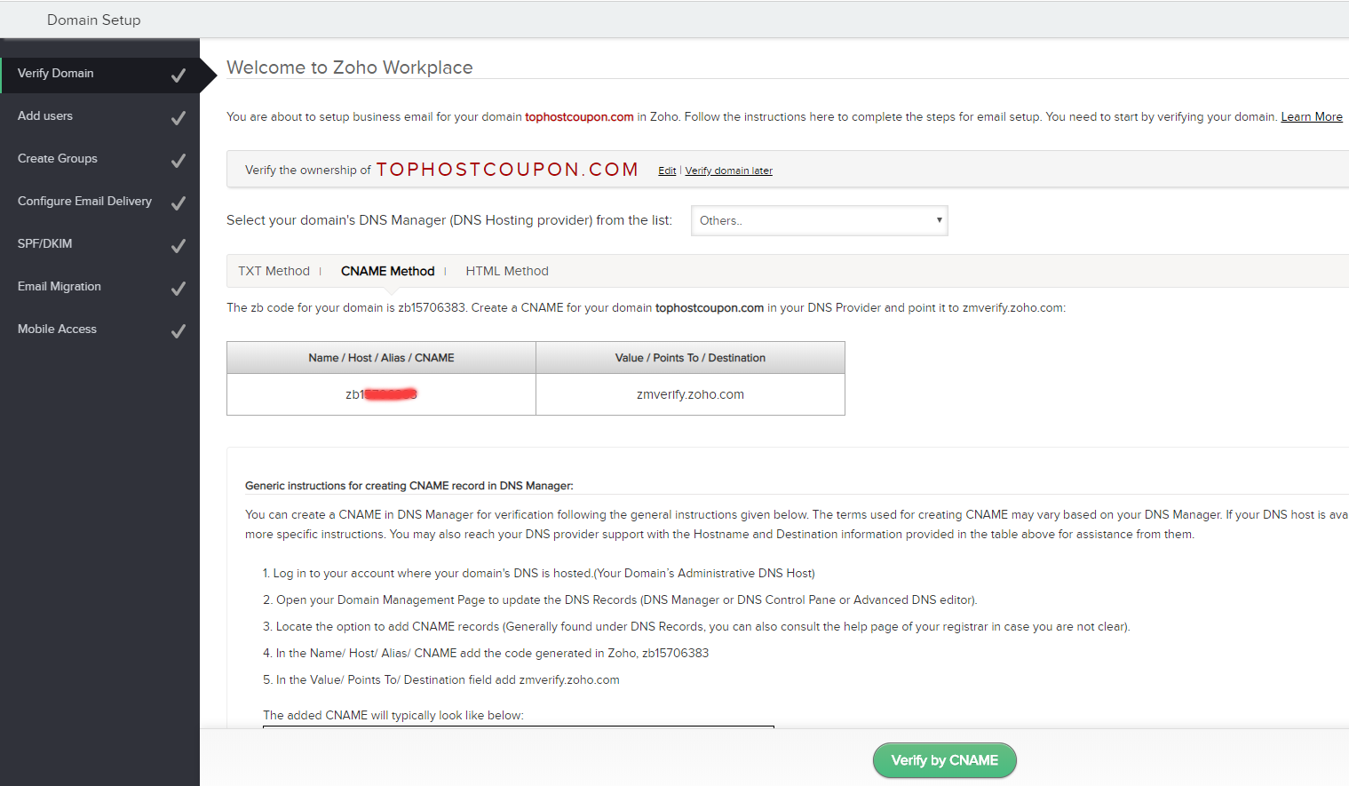 zoho verify domain cname