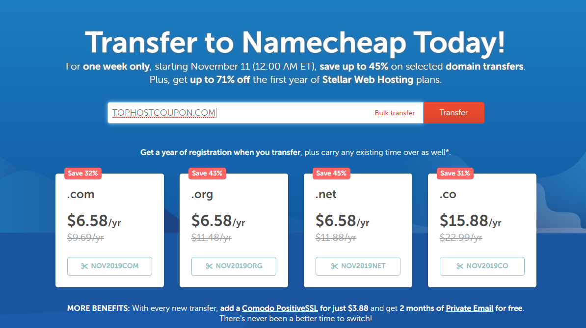 NameCheap Discount 45 Percent transfer