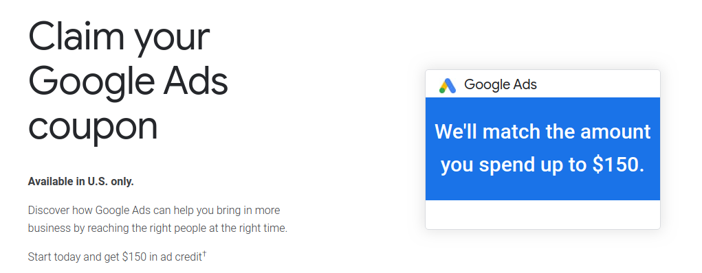 150 usd google ads coupon