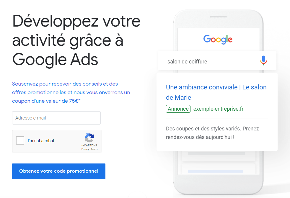 Google Ads France coupon 75 euro