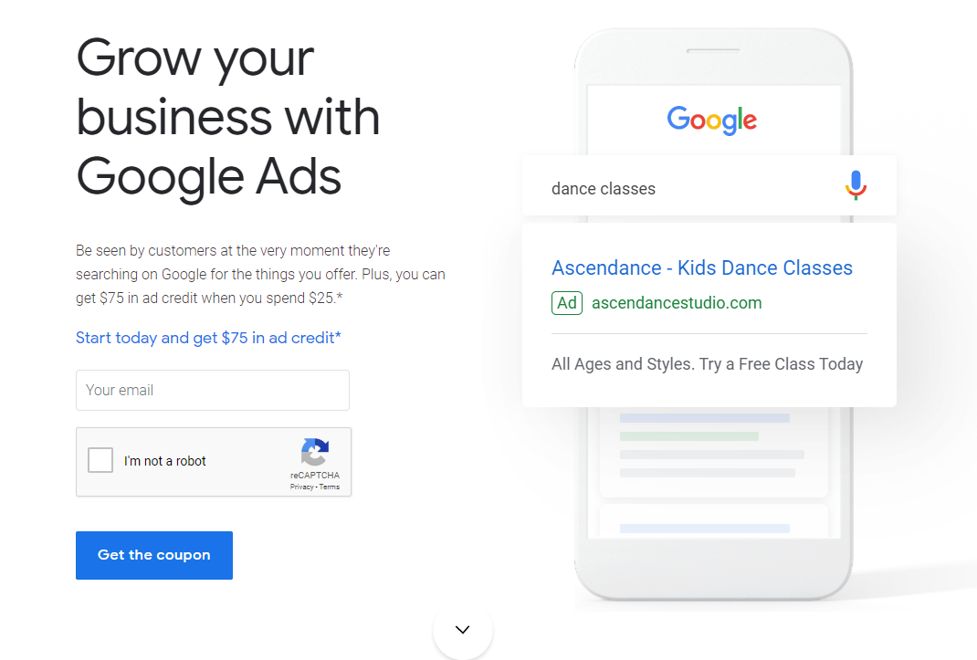 Google Ads spend 25 usd and get 75 usd