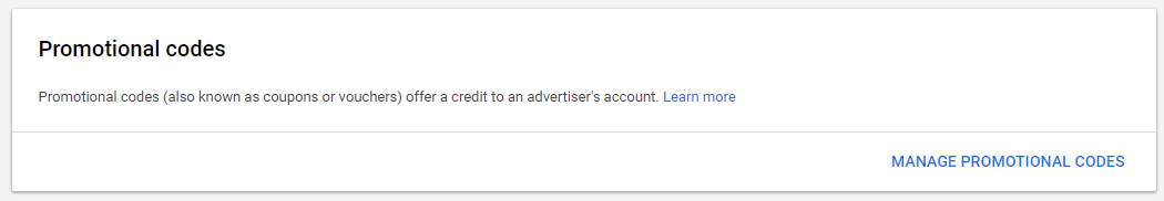 manage-promotional codes google ads