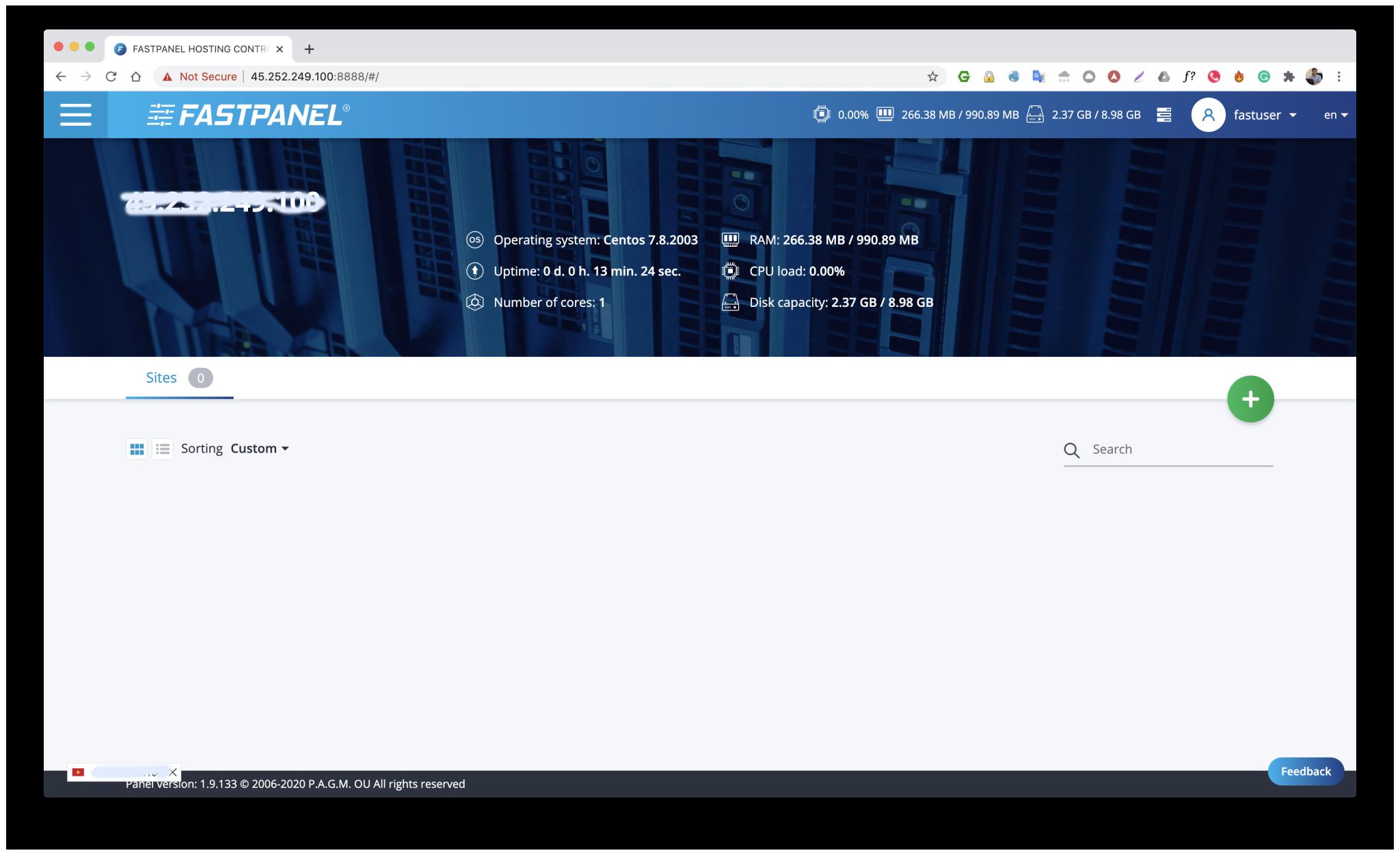 FastPanel install Successful
