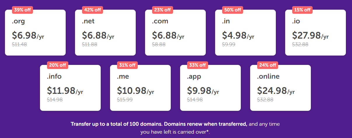 NameCheap transfer sale