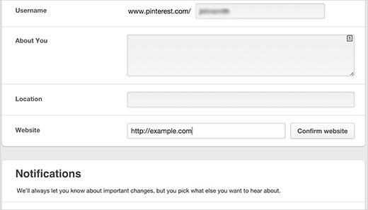 add website to pinterest