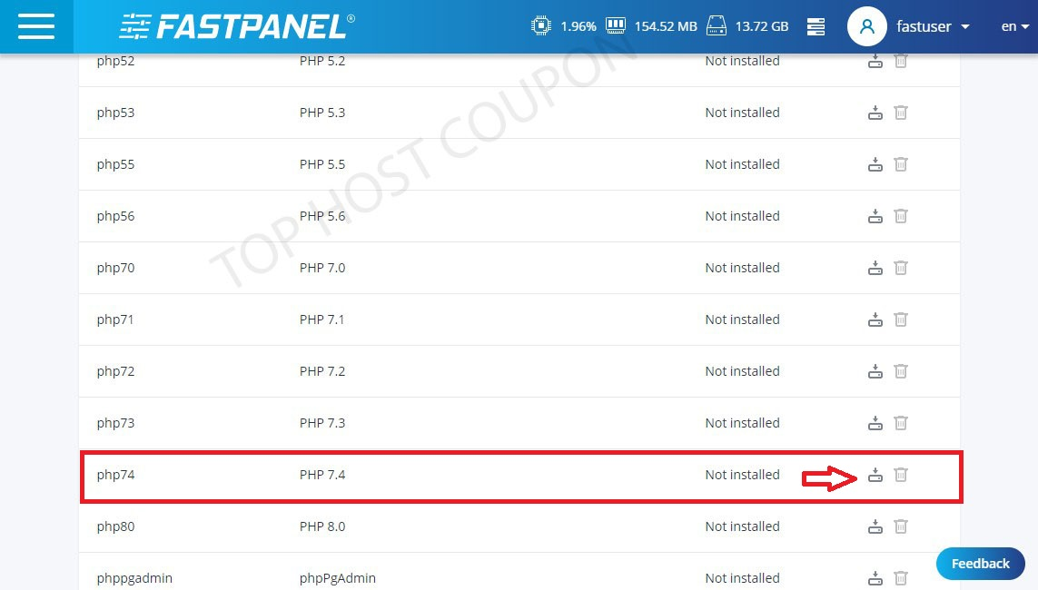 Choose PHP version to install FastPanel