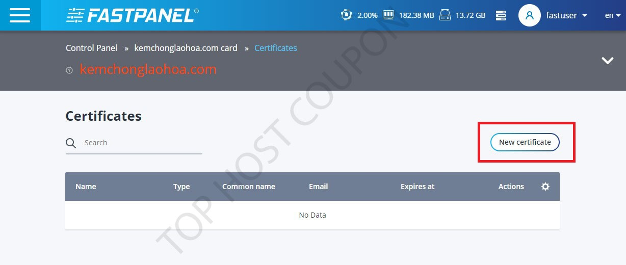 Click on New Certificates
