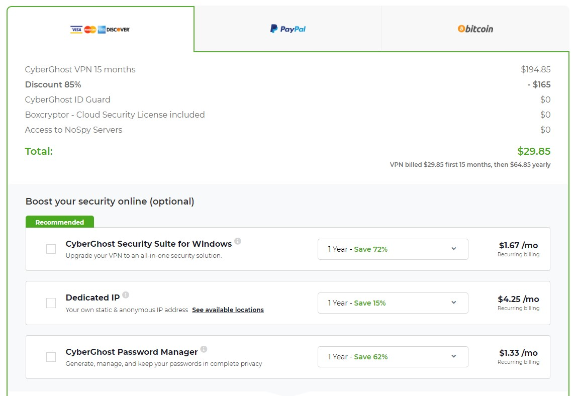 cyberghost vpn coupon 85% off