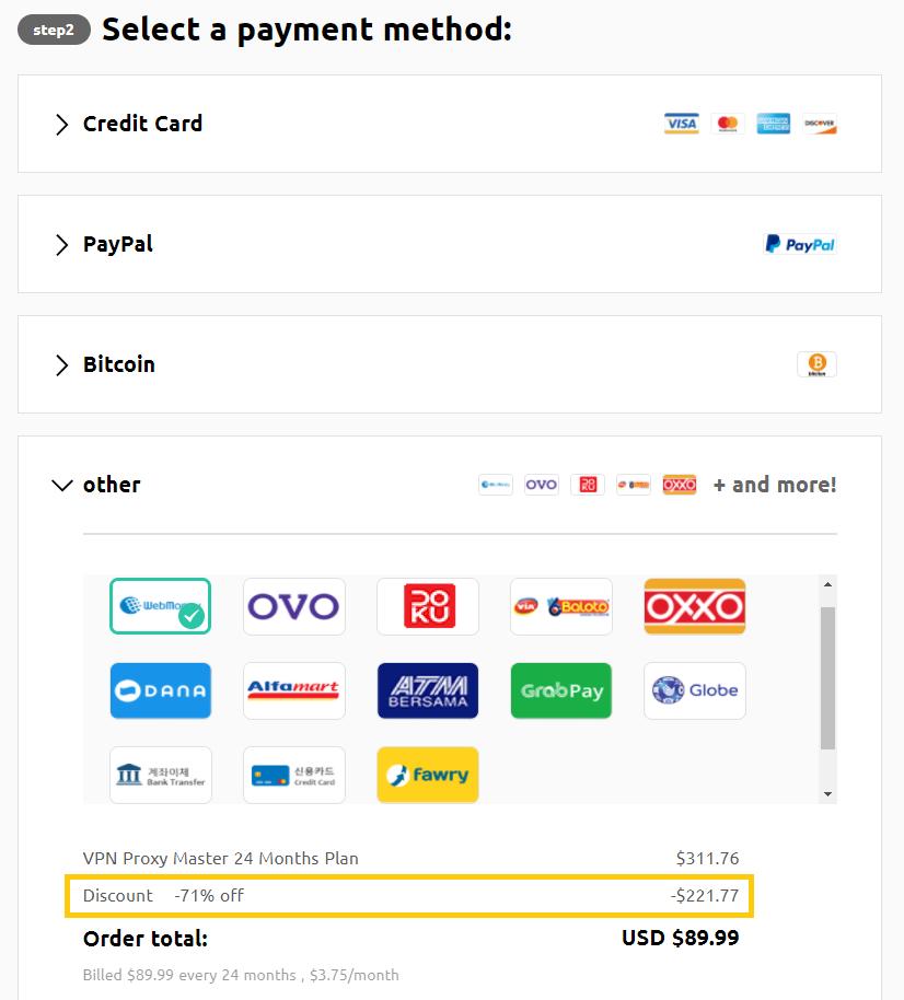 VPN Proxy Master Payment Method
