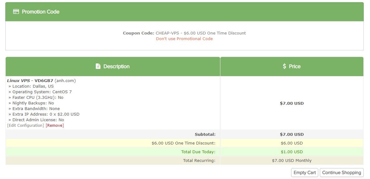 VPSDIME 1 Dollar coupon